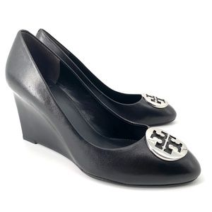 Tory Burch Alice wedges black silver 9.5